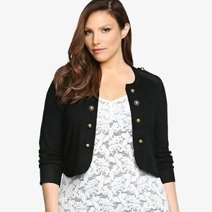 Torried Black Military Cropped Cardigan Size 4